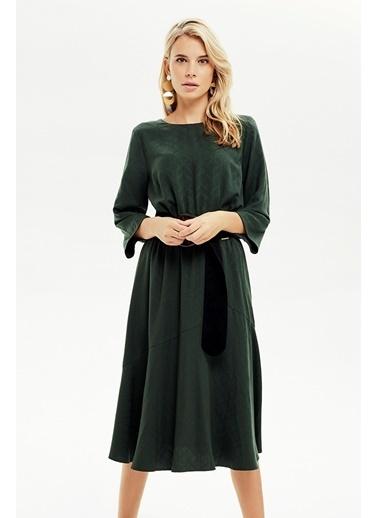 NaraMaxx Beli Lastikli Kloş Elbise Yeşil
